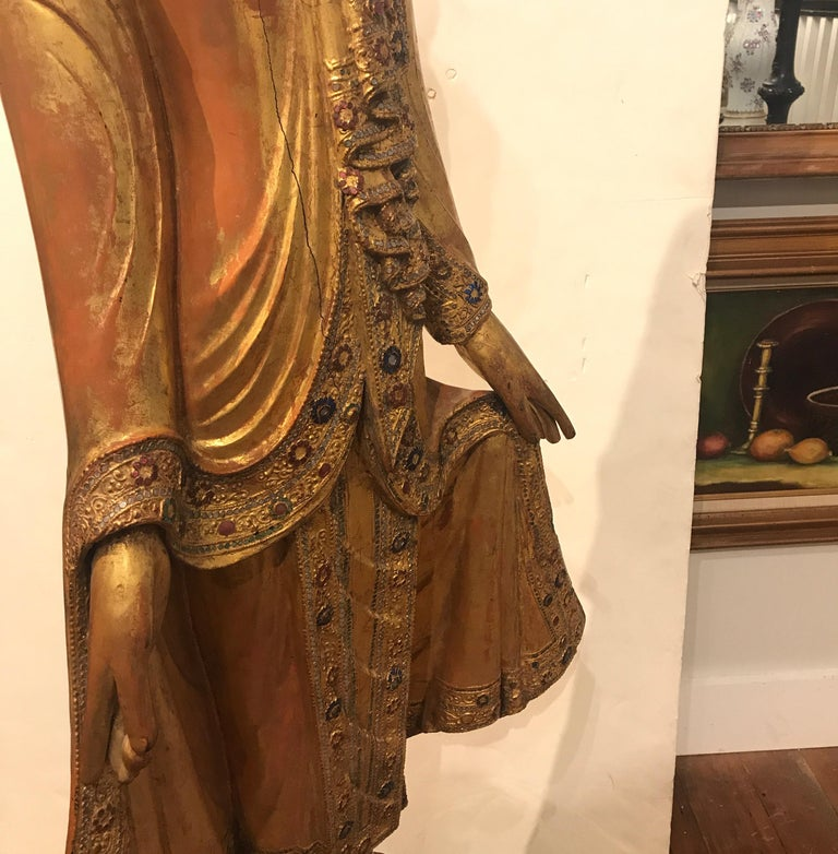 Large Carved Giltwood Thai Buddha For Sale 4