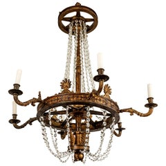 Large Carved Giltwood and Crystal Chandelier