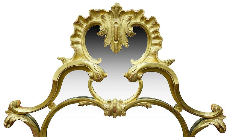 English Large Carved Giltwood Chippendale Style Mirror For Sale
