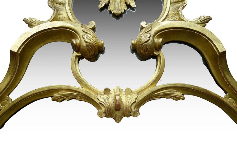 Large Carved Giltwood Chippendale Style Mirror In Good Condition For Sale In Brighton, Sussex