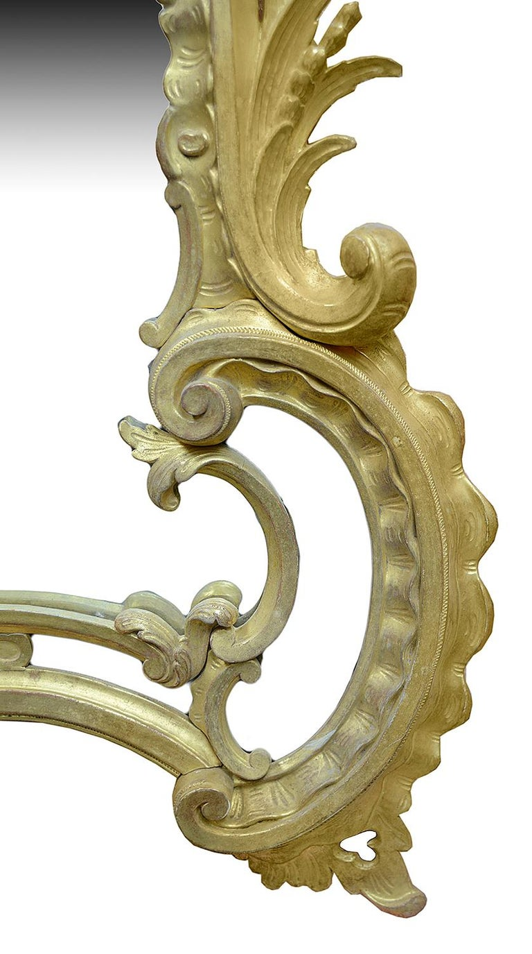 Large Carved Giltwood Chippendale Style Mirror For Sale 2