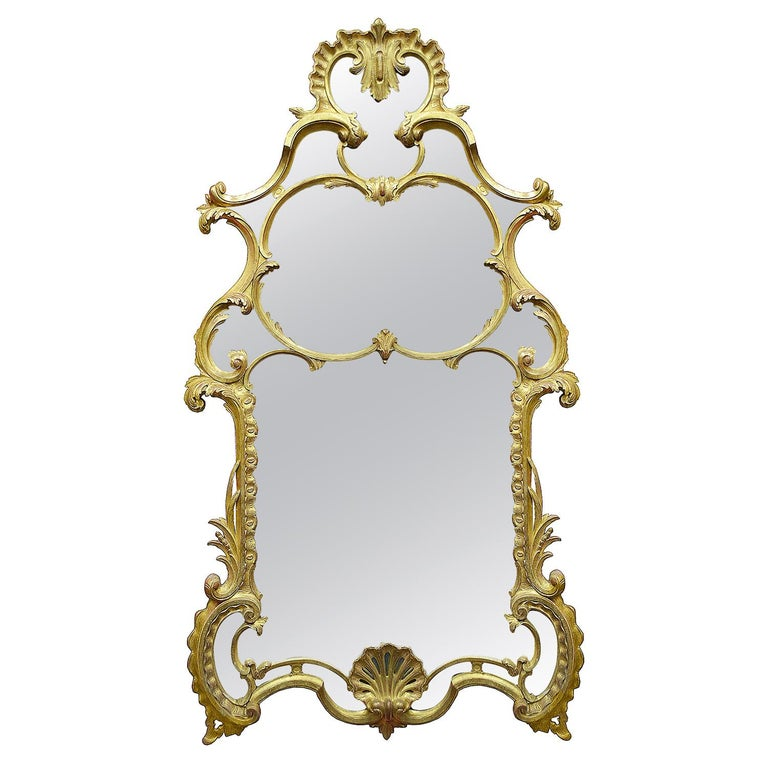 Large Carved Giltwood Chippendale Style Mirror For Sale