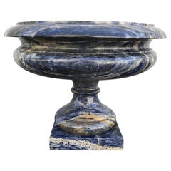 Large Carved Italian Blue Lapis Marble Urn Centerpiece