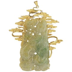 Large Carved Jade Diamond Gold Pendant