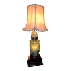 Large Carved Jadeite 'flourite' Lamp