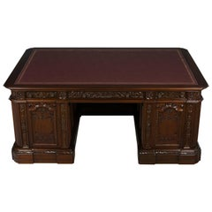 Large Carved Mahogany Reproduction Resolute Presidents Desk