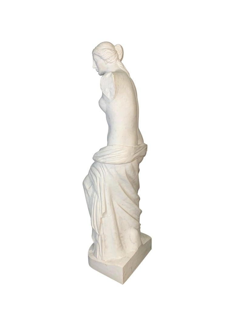 Hand-Carved Large Carved Marble Figure of Venus De Milo For Sale