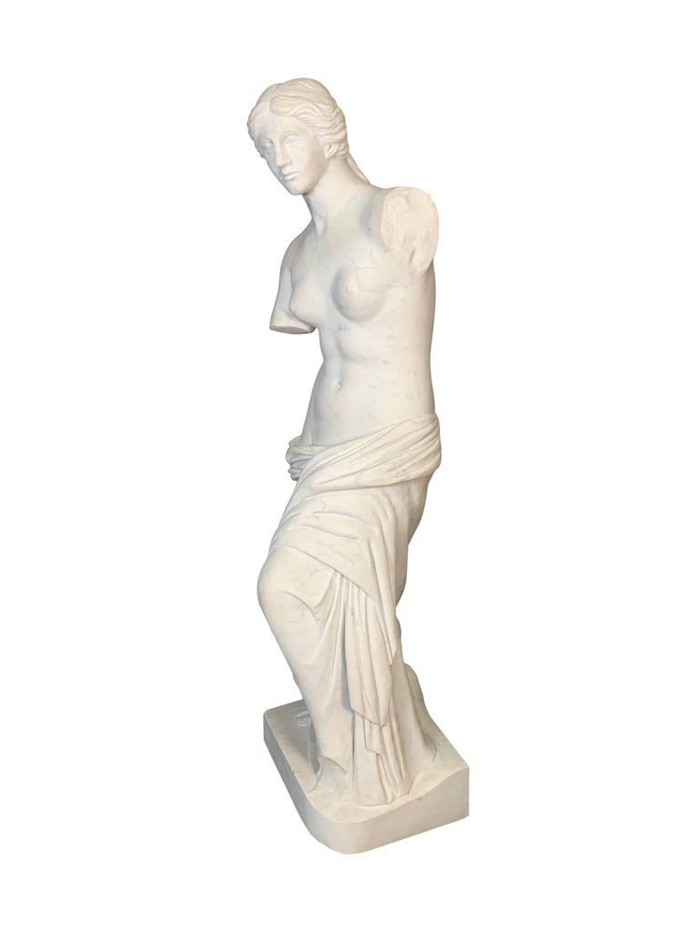Large Carved Marble Figure of Venus De Milo In Good Condition For Sale In Los Angeles, CA
