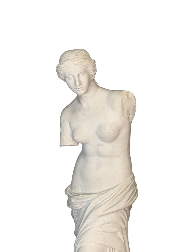 Early 20th Century Large Carved Marble Figure of Venus De Milo For Sale