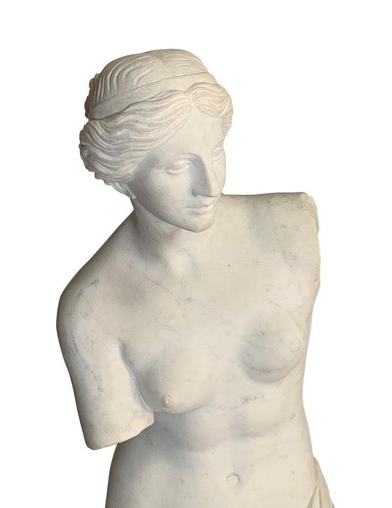 Large Carved Marble Figure of Venus De Milo For Sale 2