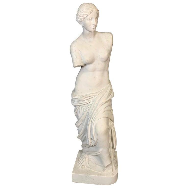 Large Carved Marble Figure of Venus De Milo For Sale