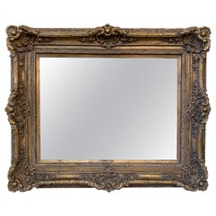 Large Carved Mirror with Gold Gilded Frame