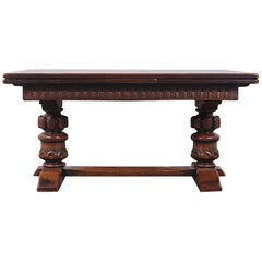 Large Carved Oak Flemish Draw-Leaf Table