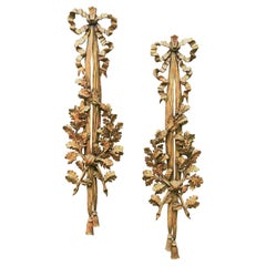 Large Carved Pair of Louis XVI Style Giltwood Wall Trophy or Applique