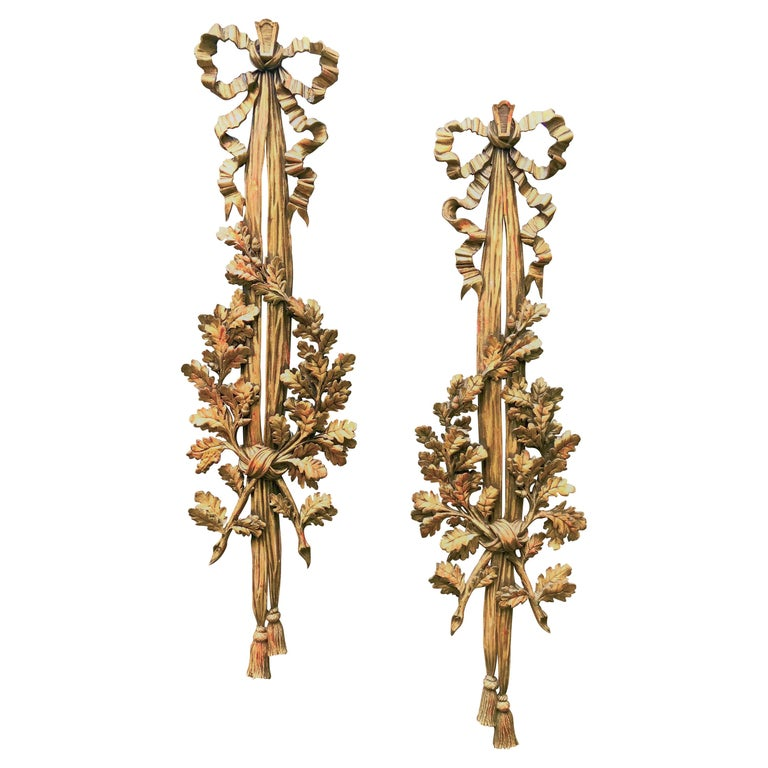 Large Carved Pair of Louis XVI Style Giltwood Wall Trophy or Applique For Sale