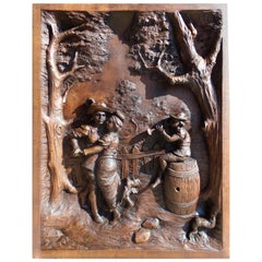 Large Carved Black Forest style Panel Dancers, circa 1890