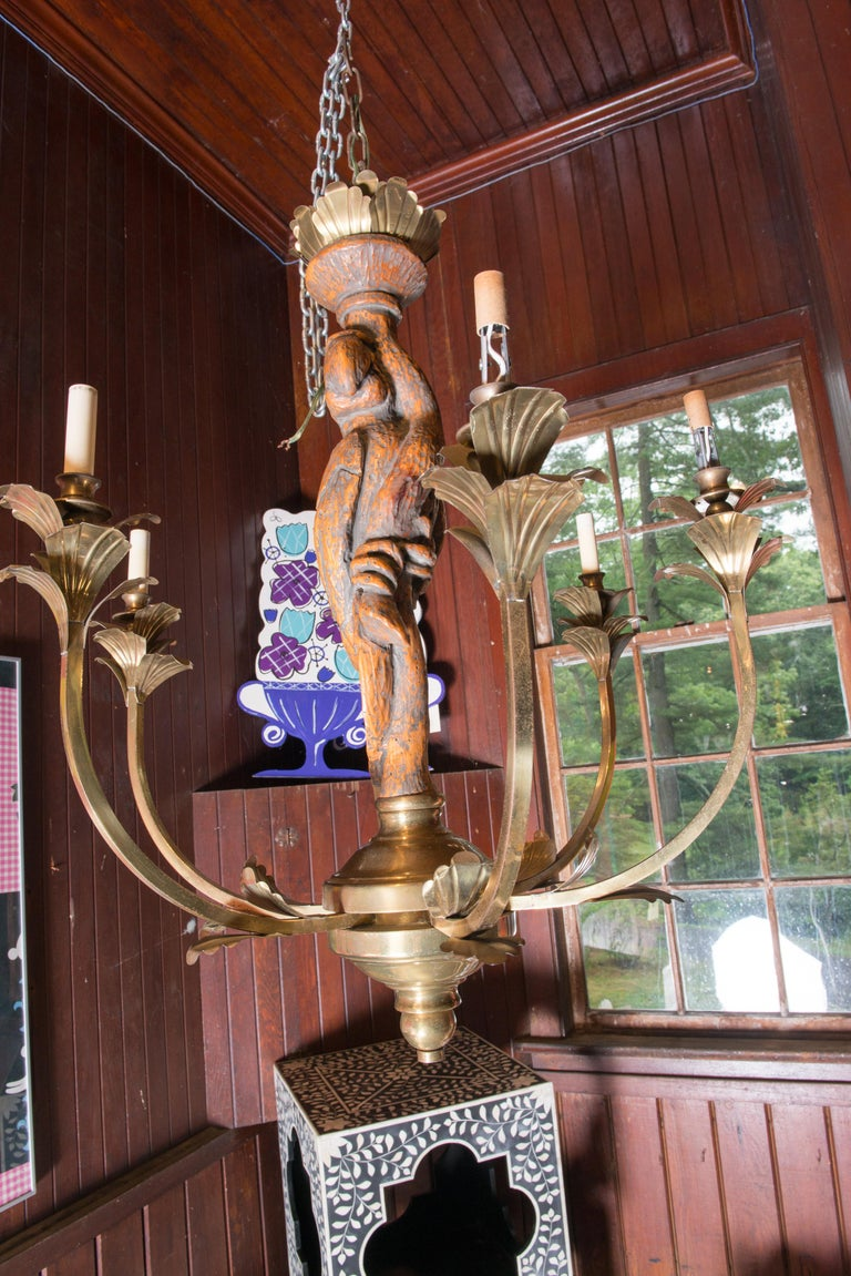 American Large Carved Parrot & Brass Chandelier For Sale