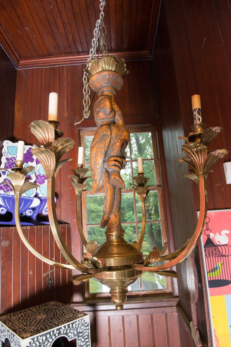 Large Carved Parrot & Brass Chandelier For Sale 2