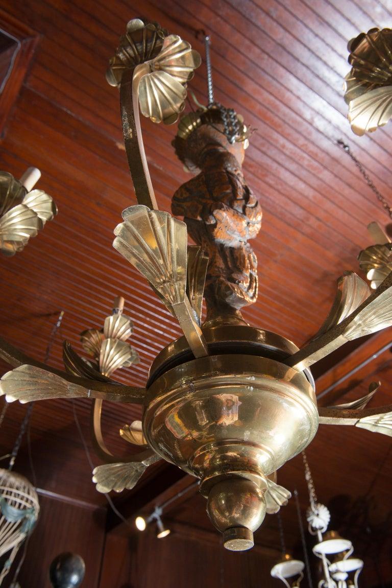 Large Carved Parrot & Brass Chandelier For Sale 3