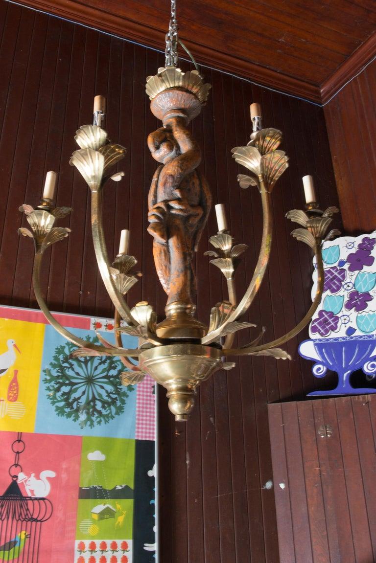 Large Carved Parrot & Brass Chandelier For Sale 4