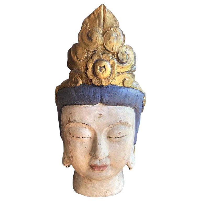 Large Carved Polychrome Buddha Head Bust on Stand For Sale