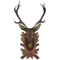 Large Carved Polychrome Decorated Stags Head