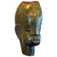 Large Carved Serpentine Stone African Shona Head, Zimbabwe Modernist