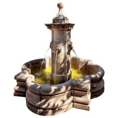 Large Carved Stone Center Water Fountain Sculpture Focal Point Basin LA Antiques
