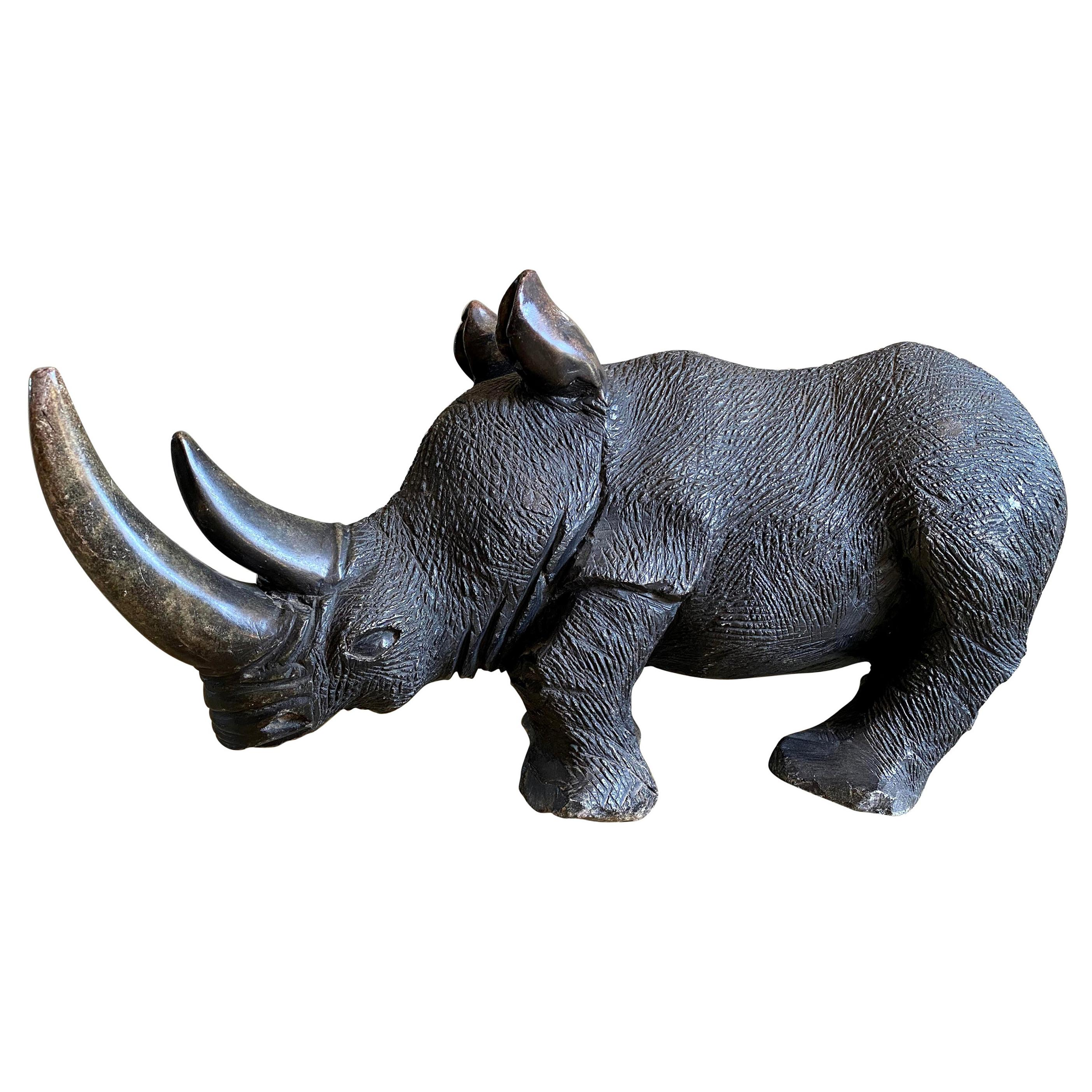Large Carved Stone Rhino Sculpture