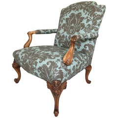 Large Carved Walnut and Upholstered French Fauteuil Club Chair