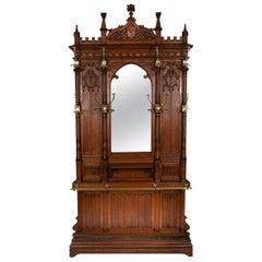 Large Carved Walnut Hall Stand with Brass Fittings in the Gothic Style