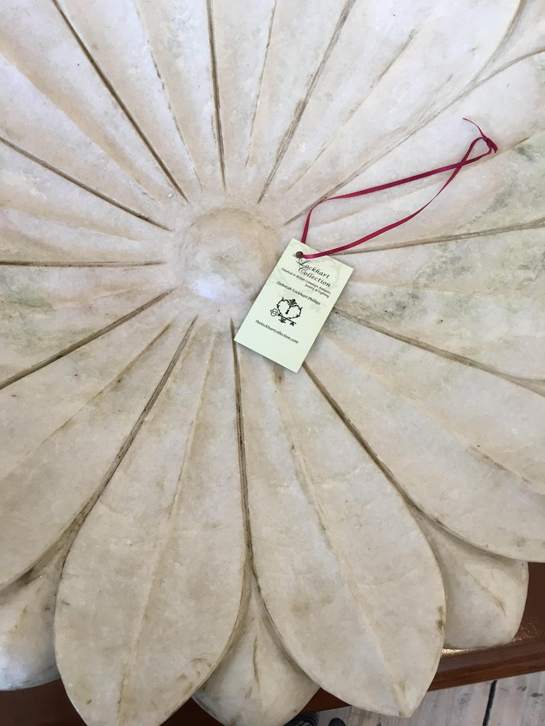 Large Carved White Marble Lotus Flower Platter For Sale 1