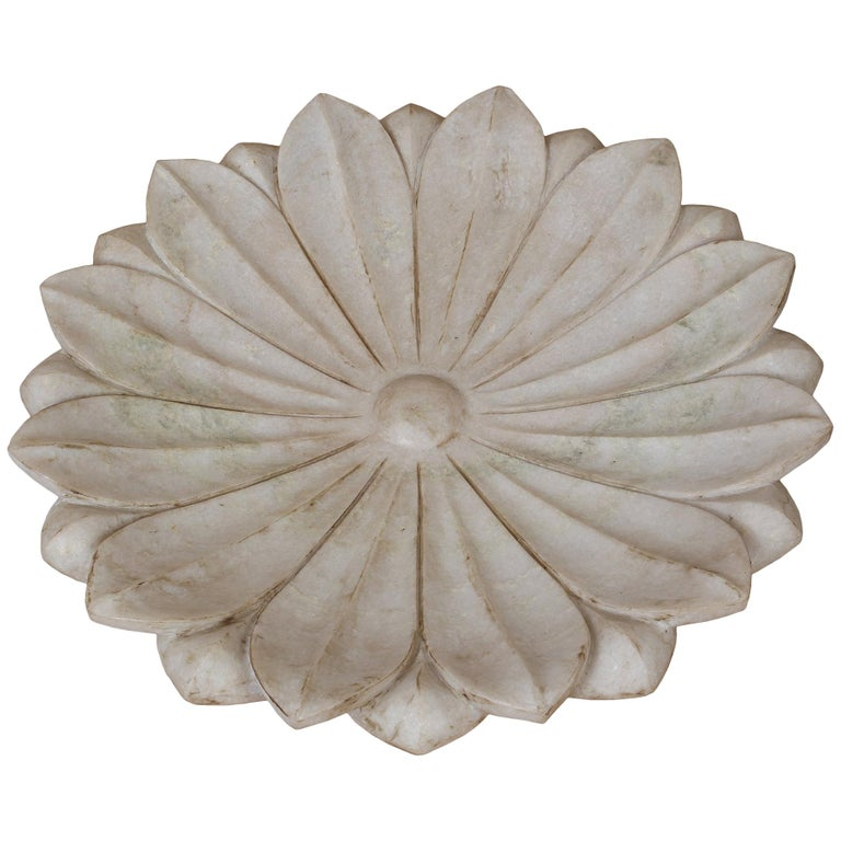 Large Carved White Marble Lotus Flower Platter For Sale