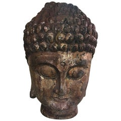 Large Carved Wood and Gilt Temple Buddha Head Bust