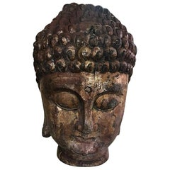 Large Carved Wood and Gilt Temple Shrine Buddha Head Bust