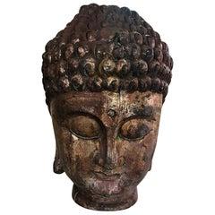 Large Carved Wood and Gilt Temple Shrine Buddha Head Bust
