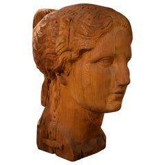 Large Carved Wood Bust of Head