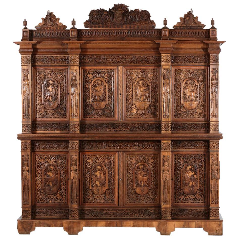 "Large Carved Wood Cabinet ""Hunter"" Unique Piece"