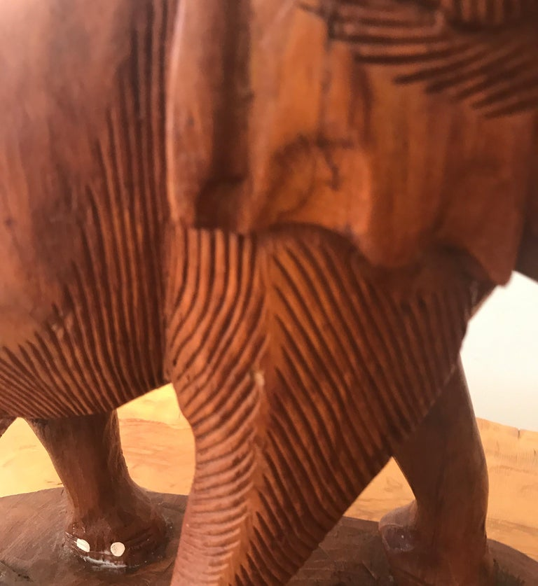 Large Carved Wood Elephant Sculpture For Sale 5