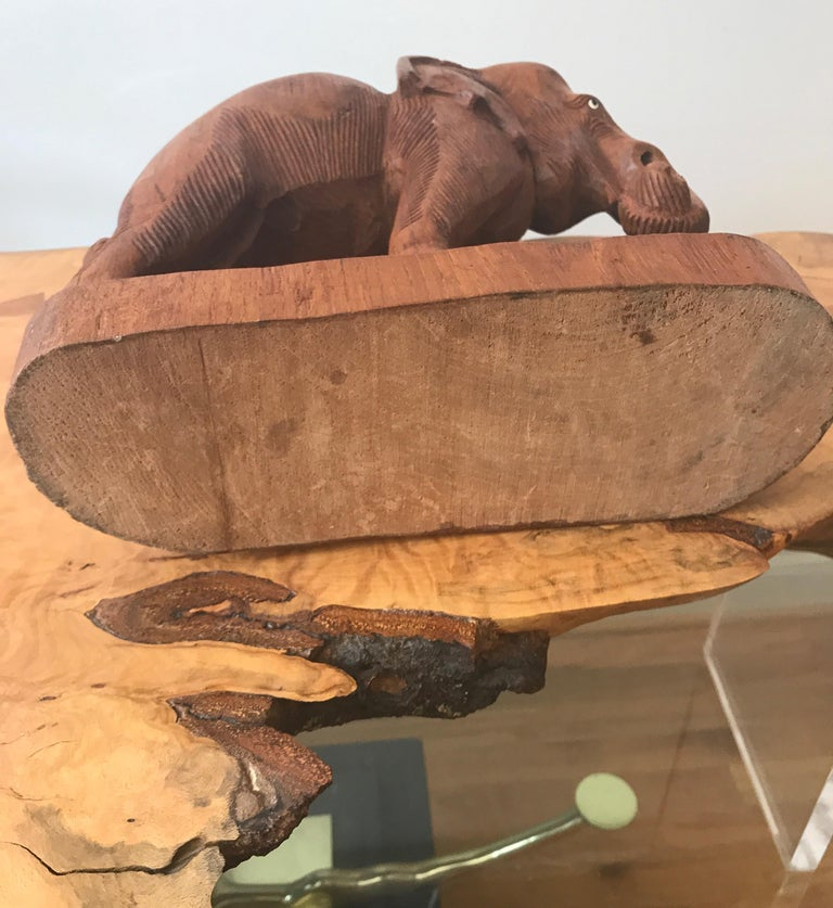 Large Carved Wood Elephant Sculpture For Sale 7