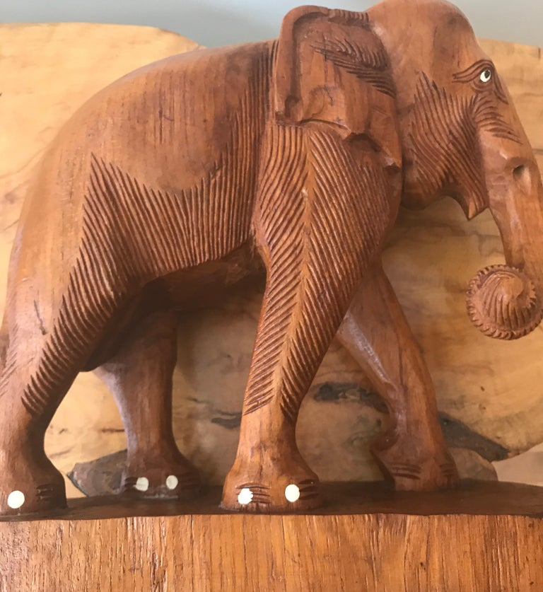 Large Carved Wood Elephant Sculpture For Sale 10
