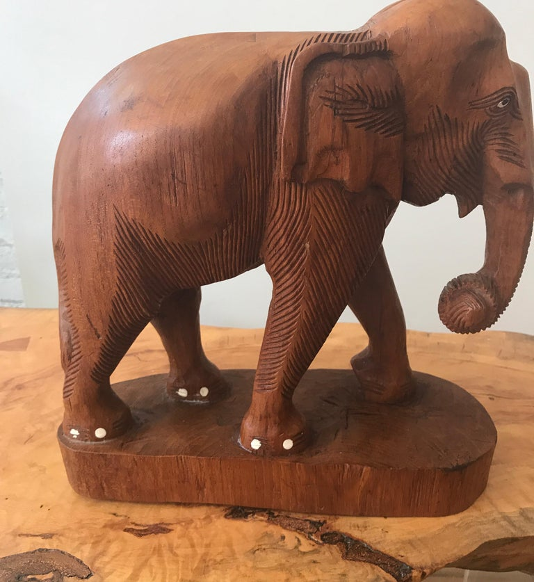 Large Carved Wood Elephant Sculpture For Sale 1