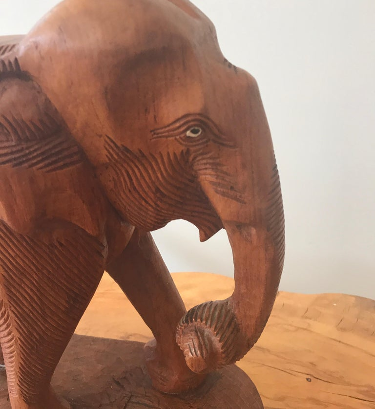 Large Carved Wood Elephant Sculpture For Sale 2