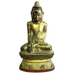 Large Carved Wood, Lacquered and Gilt Seated Temple Shrine Buddha