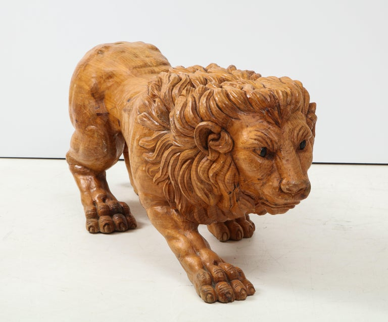 Mid-Century Modern Large Carved Wood Lion Sculpture For Sale