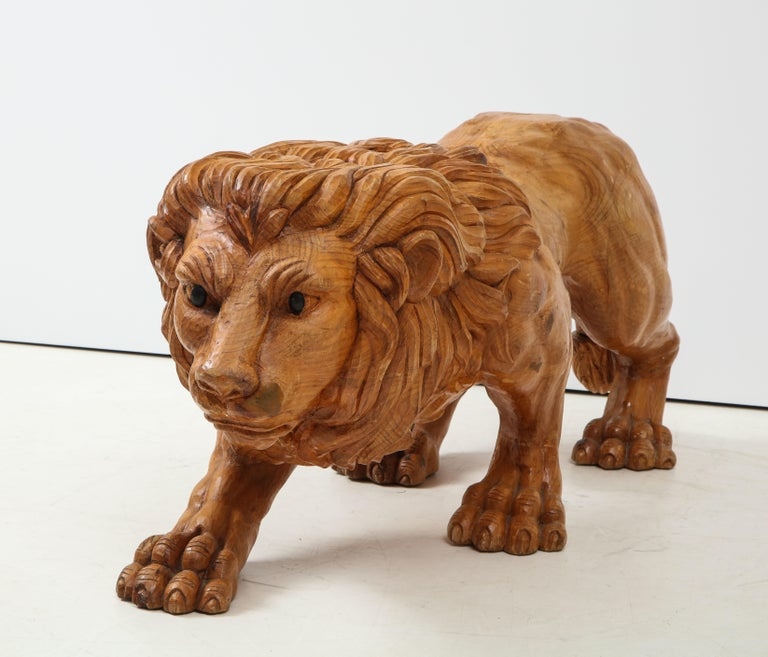 American Large Carved Wood Lion Sculpture For Sale