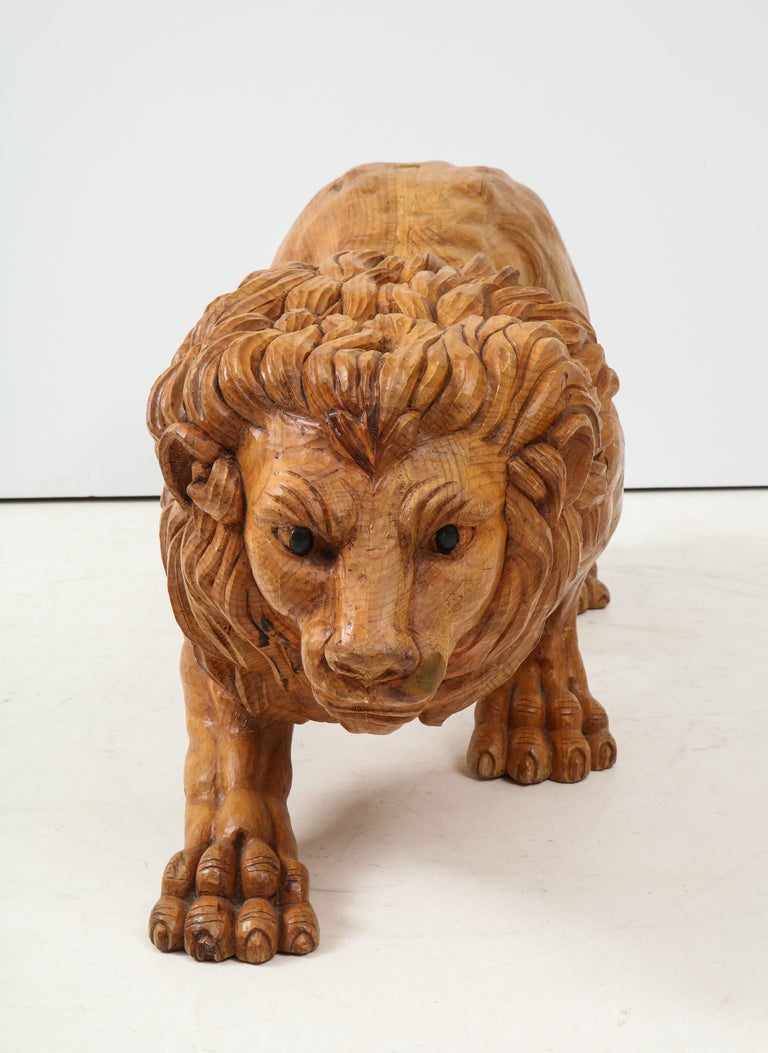 20th Century Large Carved Wood Lion Sculpture For Sale