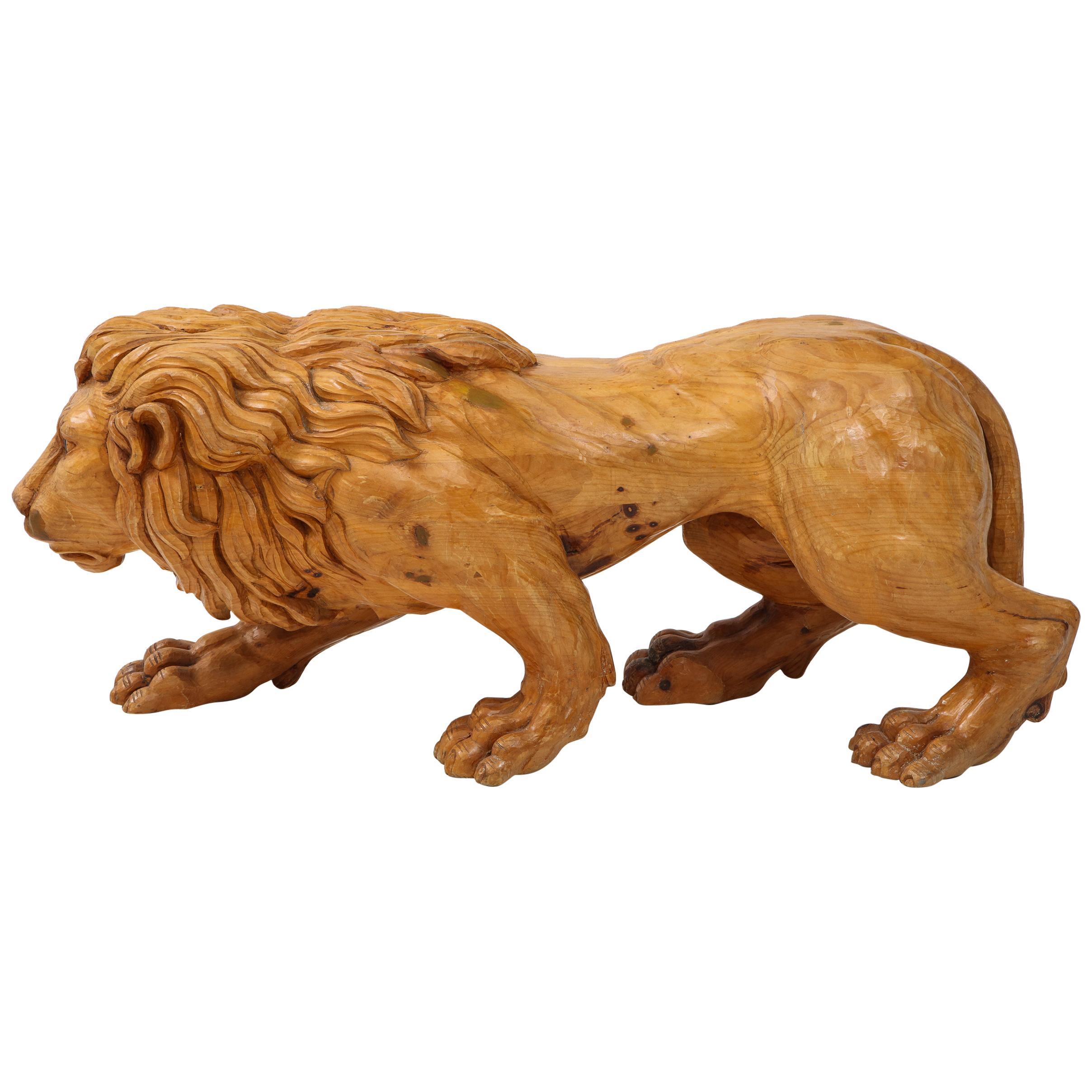 Large Carved Wood Lion Sculpture