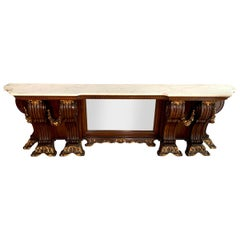 """Large Carved Wood Marble Top Console Table - 114.5"""" long"""