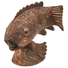 Large Carved Wood Sculpture of a Carp, Japan, 20th Century